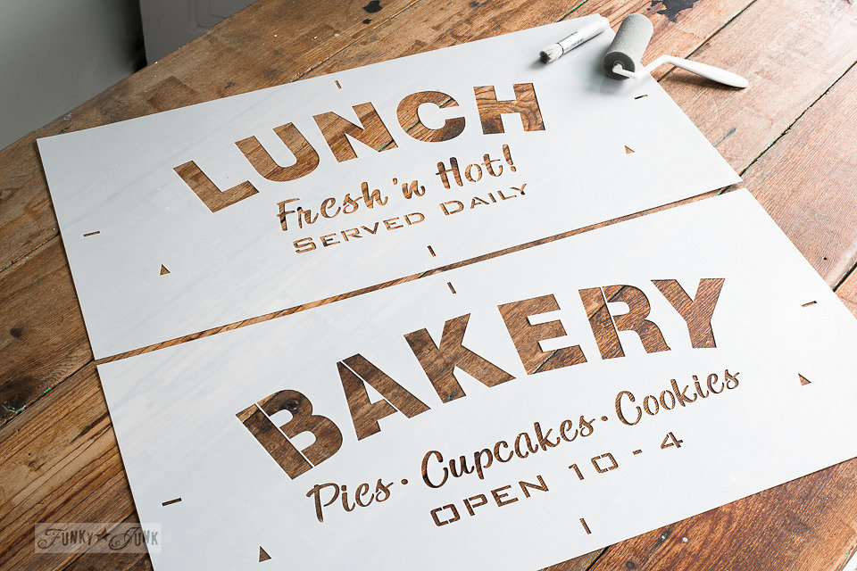 Lunch and Bakery - Funky Junk Old Sign Stencils - available at My Painted Door.