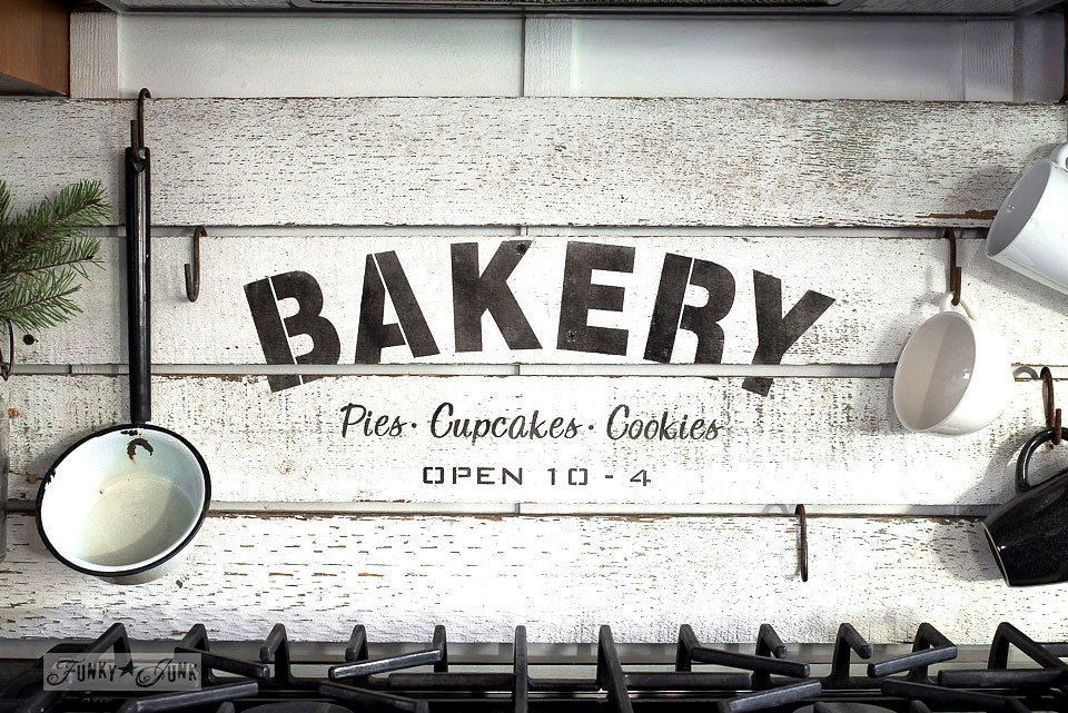 Bakery stencil on salvaged wood by Funky Junk Old Sign Stencils available at My Painted Door