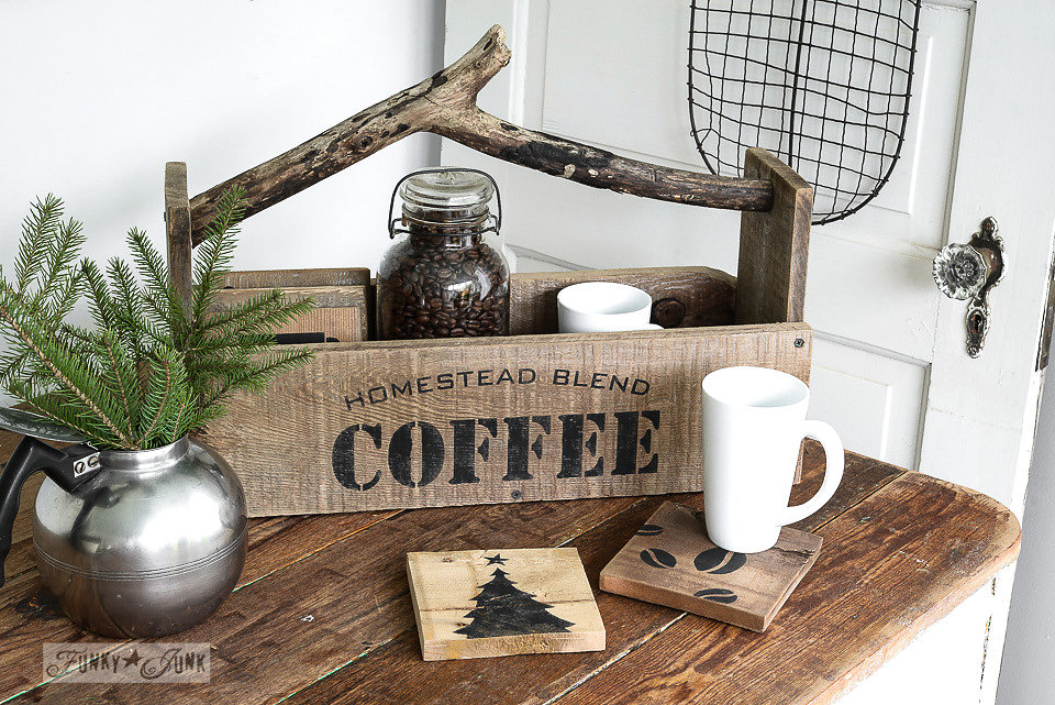 Homestead Blend Coffee stencilled on an old wood box. Funky Junk's Old Sign Stencils are available at My Painted Door.