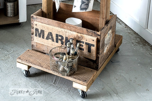 Farmer's Market stencilled on salvaged wood. Funky Junk's Old Sign Stencils are available at My Painted Door.