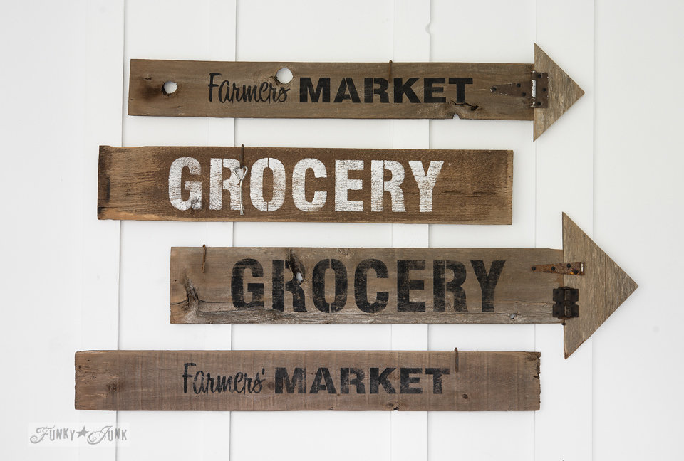 This grocery sign made from salvaged wood is perfect for any kitchen. Funky Junk's Old Sign Stencils are available at My Painted Door.