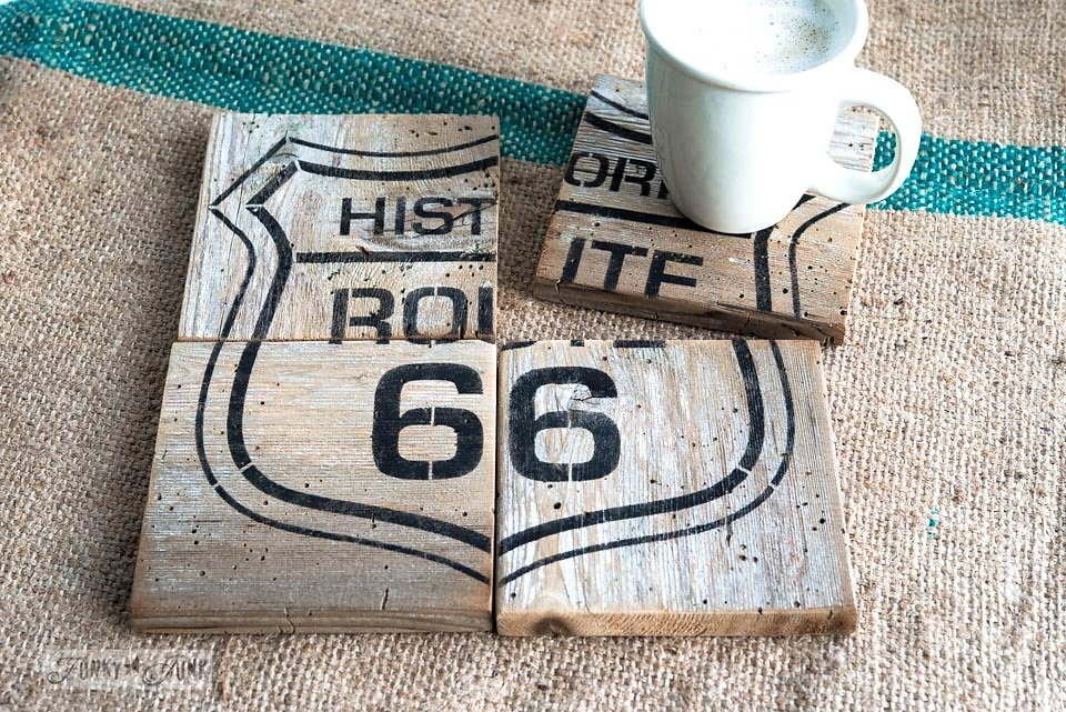 Historic Route 66 stencil made into coasters from salvaged wood. Funky Junk Old Sign Stencils - available at My Painted Door.