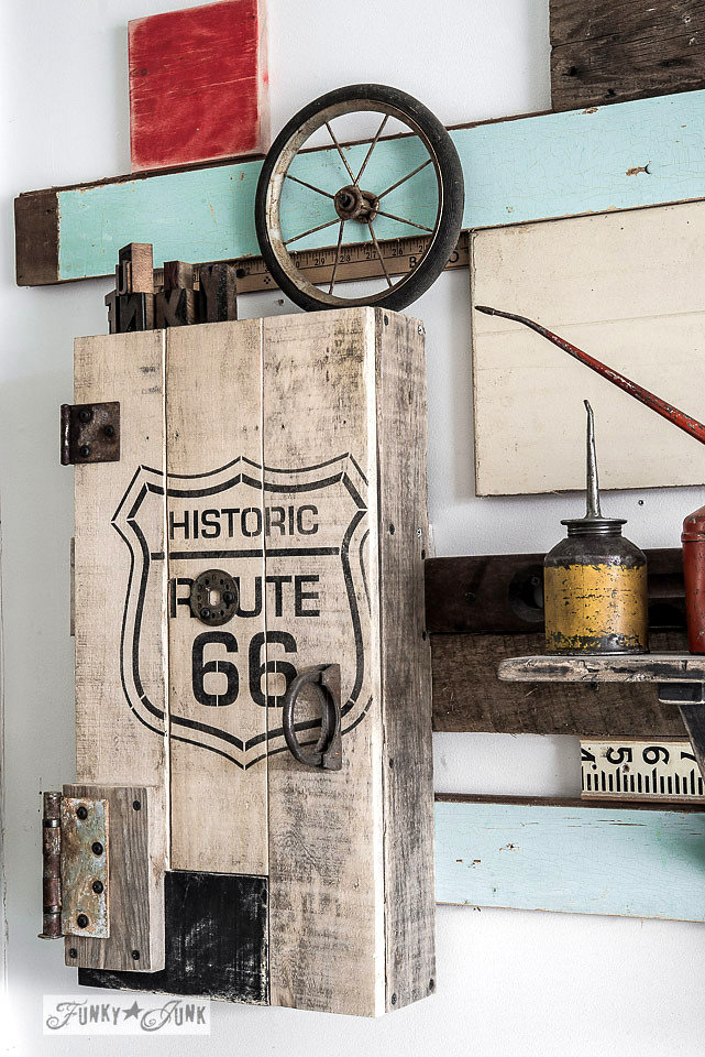 Historic Route 66 stencil on an old wooden box. Funky Junk Old Sign Stencils - available at My Painted Door.