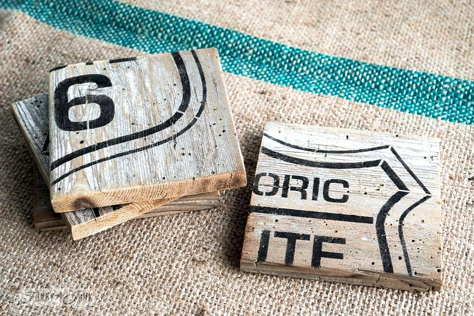 Historic Route 66 stencil on salvaged wood and made into coasters. Funky Junk Old Sign Stencils - available at My Painted Door.