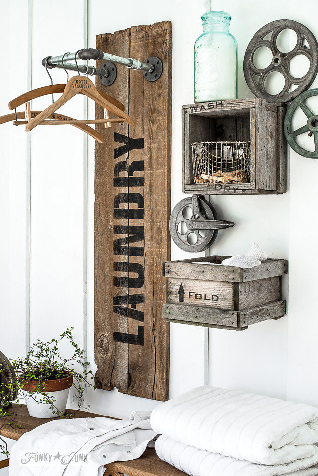 Old crates stencilled with the words wash, dry and fold. Laundry stencil by Funky Junk Old Sign Stencils - available at My Painted Door.