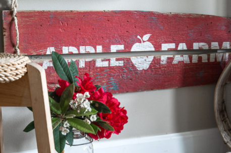 Apple Farm stencil on salvaged wood. Funky Junk Old Sign Stencils - available at My Painted Door.