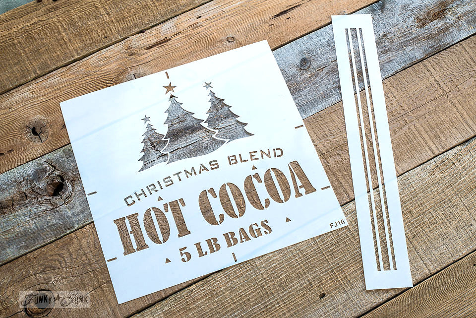 Christmas Blend Hot Cocoa stencil on salvaged wood. Funky Junk Old Sign Stencils - available at My Painted Door.