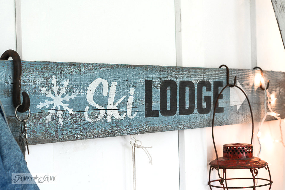 Ski Lodge stencil on salvaged wood. Funky Junk Old Sign Stencils - available at My Painted Door.