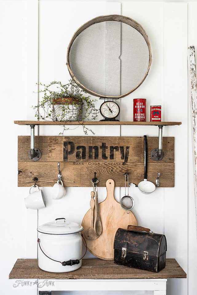 Buy Funky Junk's Old Sign Stencils on-line at My Painted Door. Pantry stencil on salvaged wood.