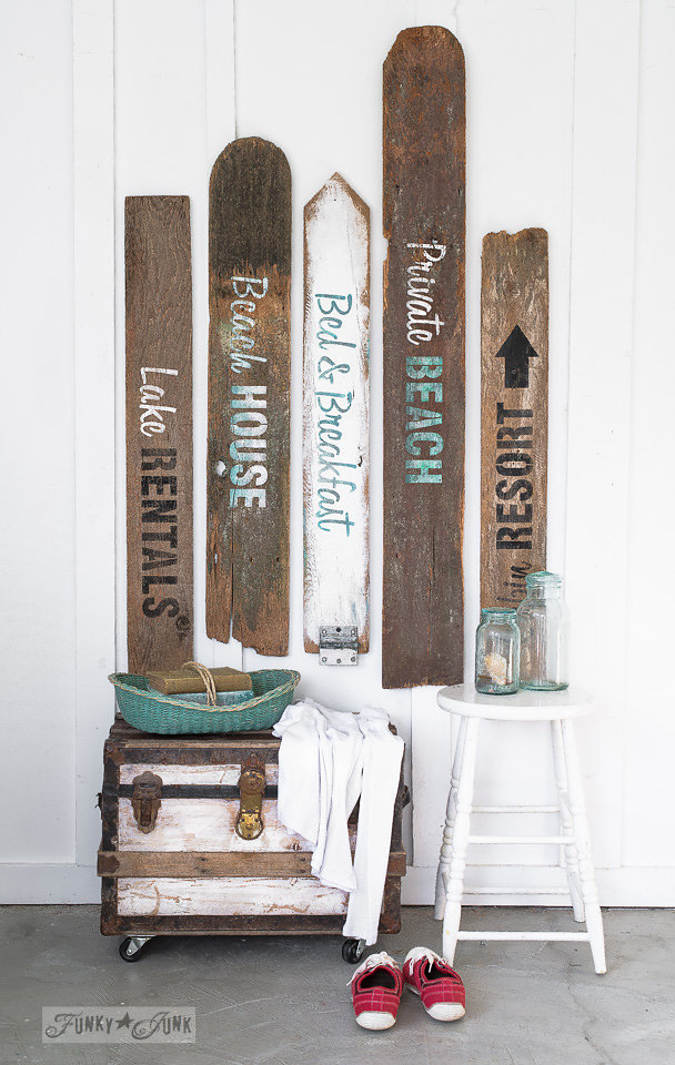 Buy Funky Junk's Old Sign Stencils on-line at My Painted Door. The Getaway Collection of stencils on salvaged wood.