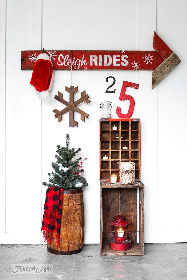 Buy Funky Junk's Old Sign Stencils on-line at My Painted Door. Sleigh rides stencil on salvaged wood.