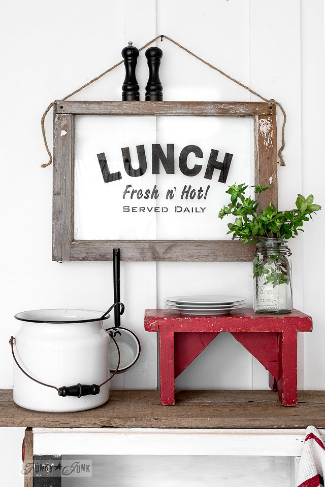 Buy Funky Junk's Old Sign Stencils on-line at My Painted Door. Lunch stencil on a salvaged window.