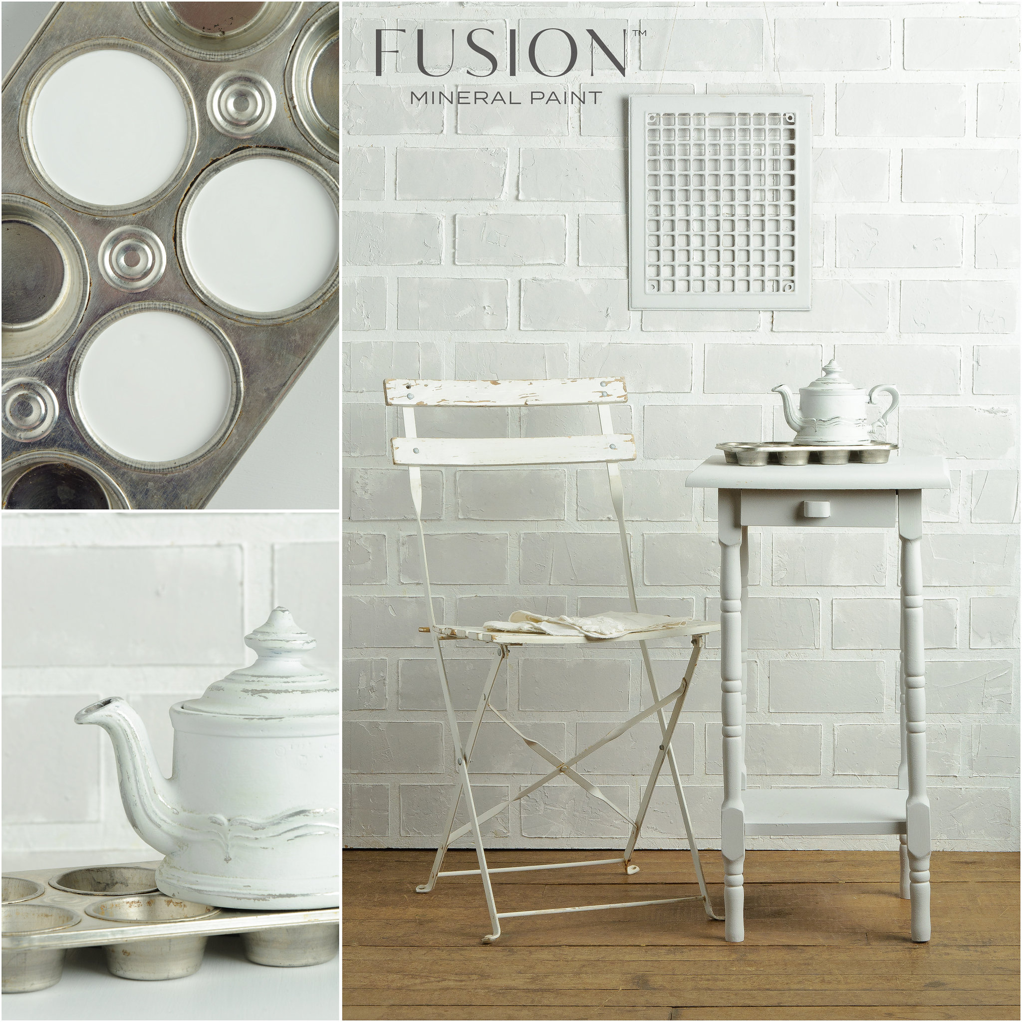 Table and Teapot painted in Lamp White Fusion Mineral Paint
