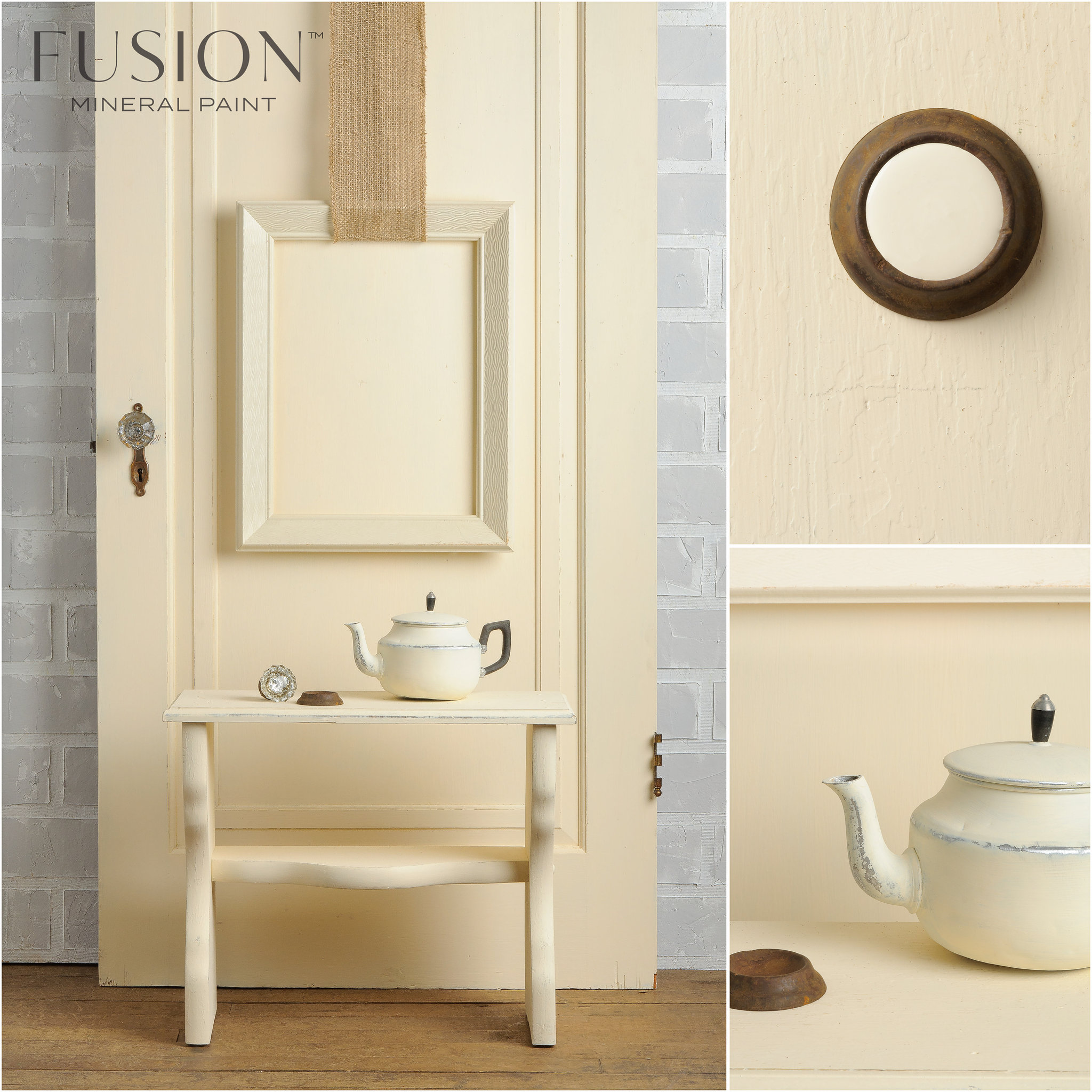 End table and Door Painted in Limestone Fusion Mineral Paint