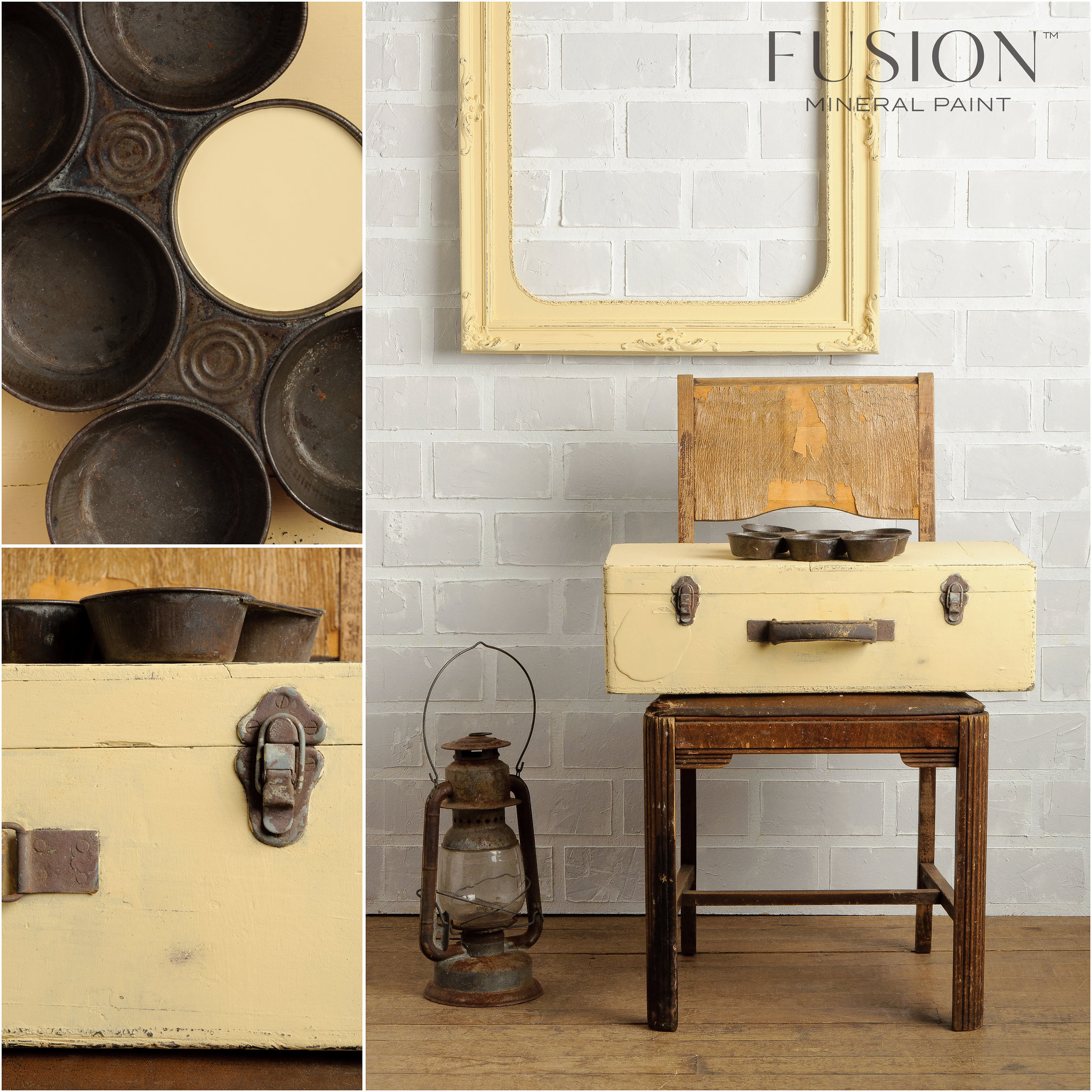 Suitcase and Frame Painted in Buttermilk Cream Fusion Mineral Paint