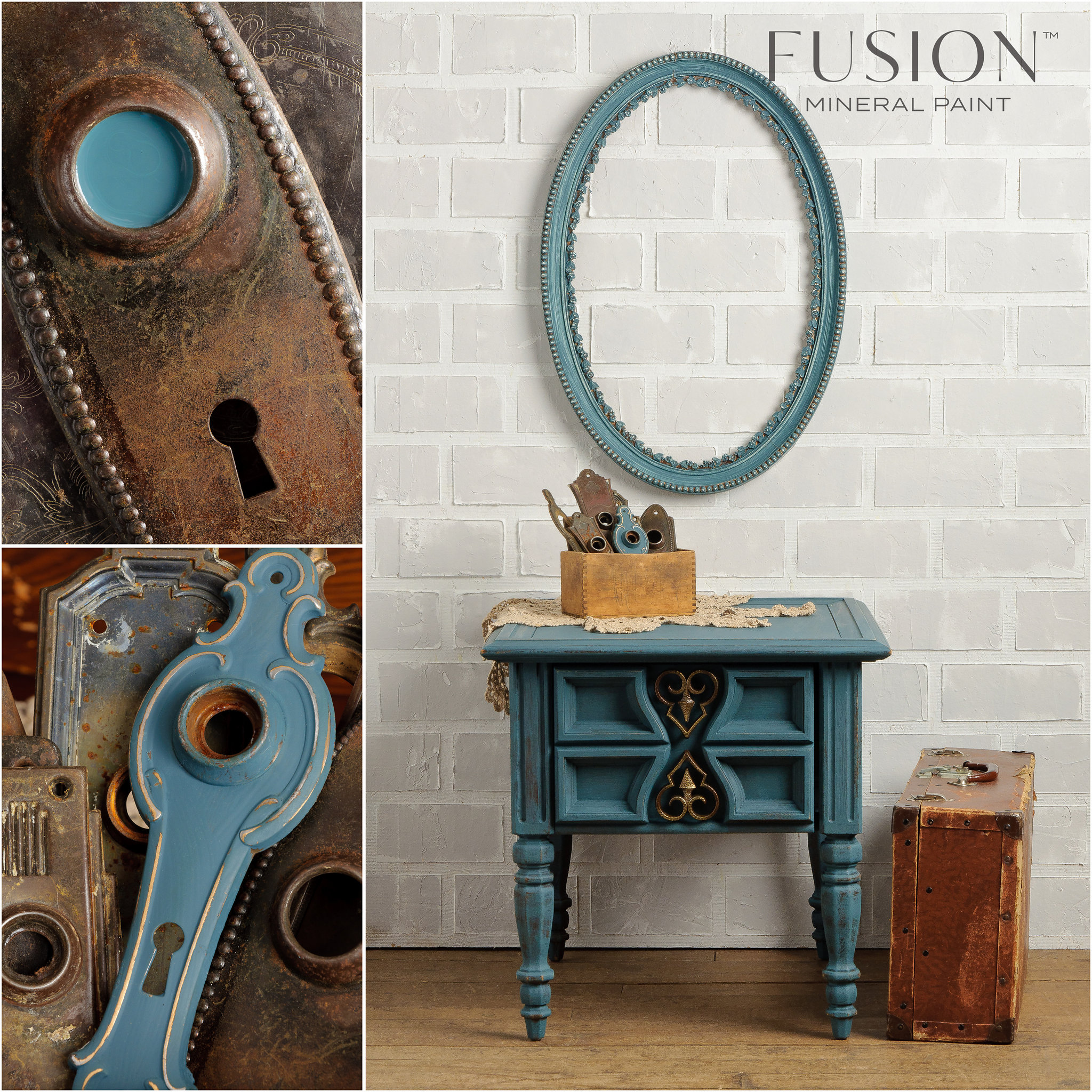 End table and Frame Painted in Homestead Blue Fusion Mineral Paint