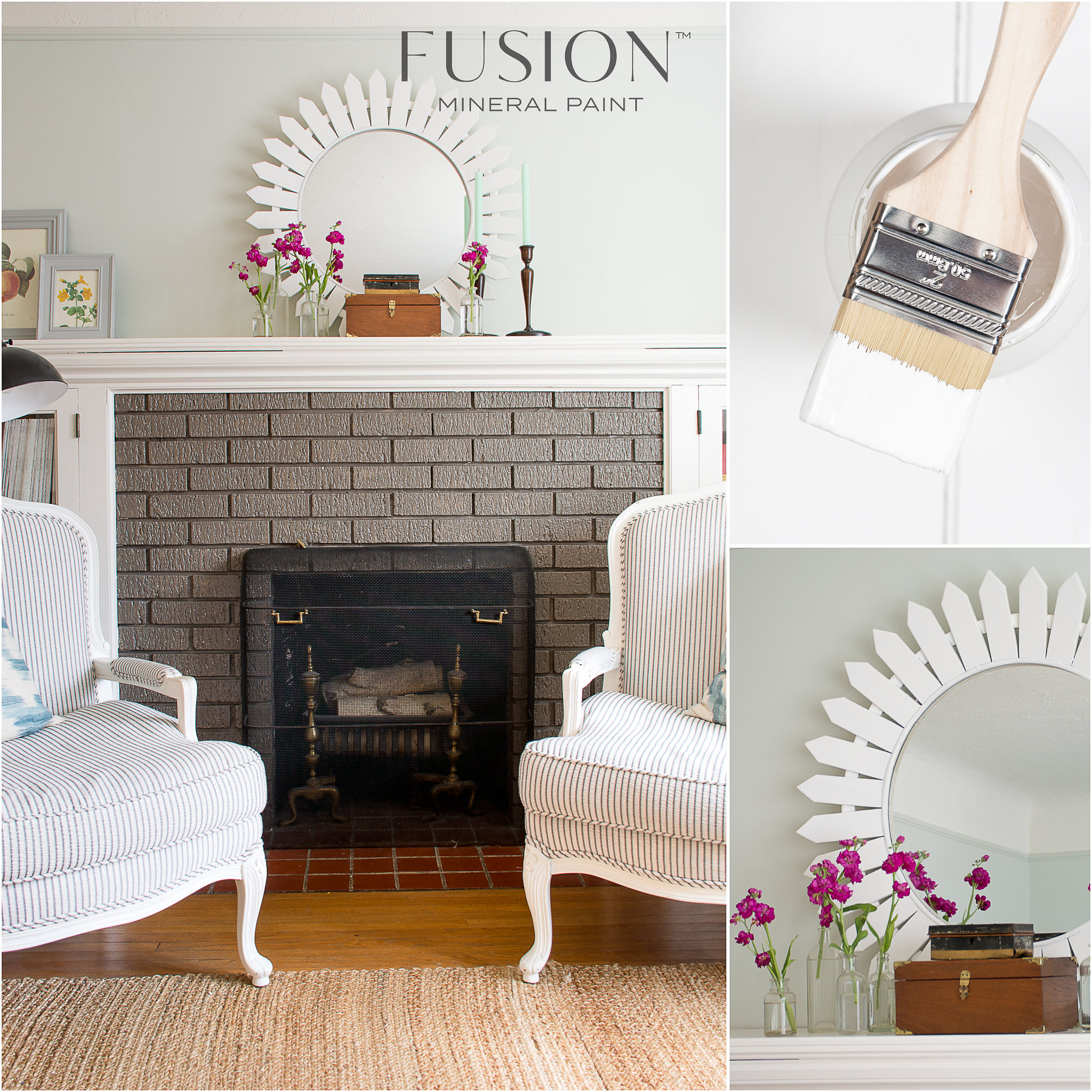 Chairs and Mirror Painted in Picket Fence Fusion Mineral Paint