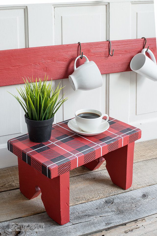 Wood stool stenciled with Funky Junk Interiors - Old Sign Stencils. Two stencils were used - Buffalo Check and Plaid Shirt.