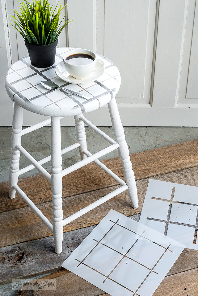 Wood stool stenciled with Funky Junk Interiors - Old Sign Stencils. This design is called Buffalo Check.