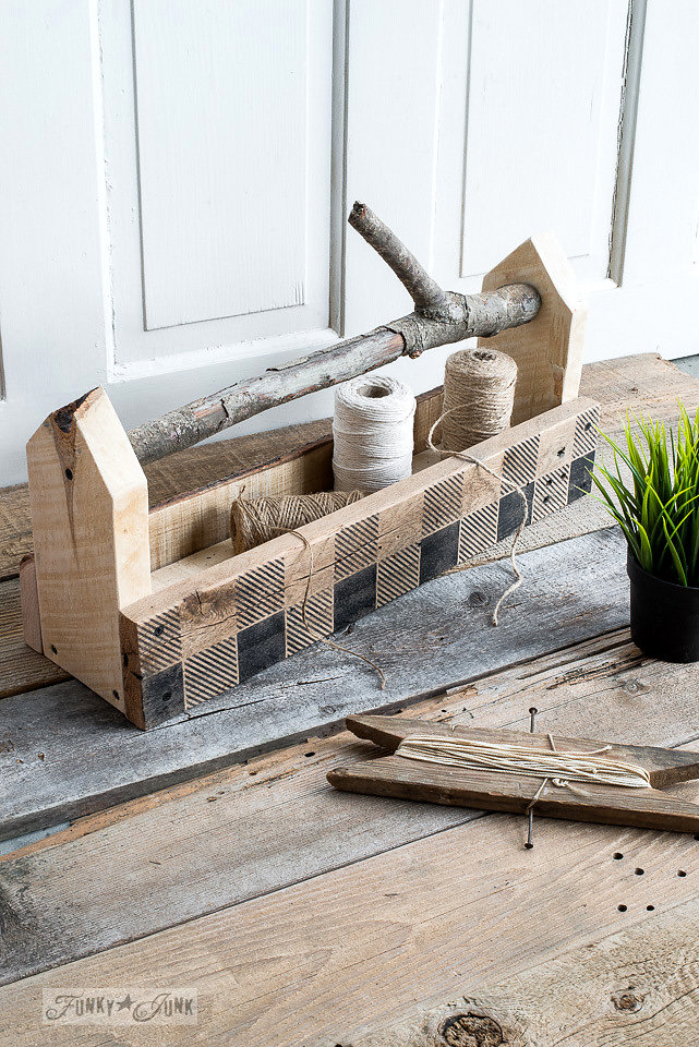 Old wood box stenciled with Funky Junk Interiors - Old Sign Stencils. This design is called Buffalo Check.