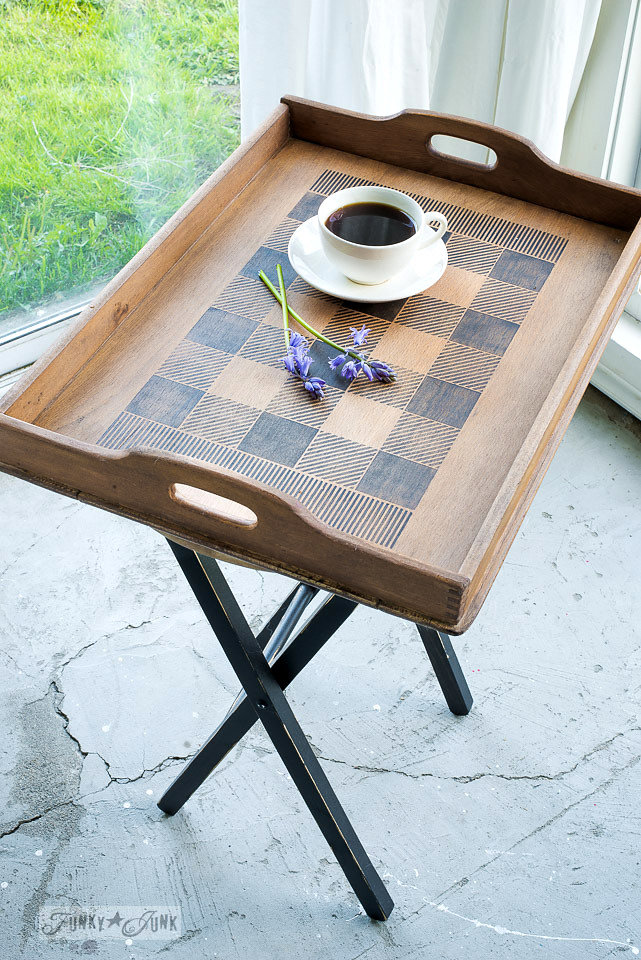 Wood tray stenciled with Funky Junk Interiors - Old Sign Stencils. Stencils used are Buffalo Check and Fringe.