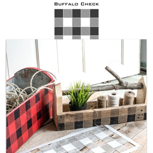 Old wood boxes stenciled with Funky Junk Interiors - Old Sign Stencils. This design is called Buffalo Check.
