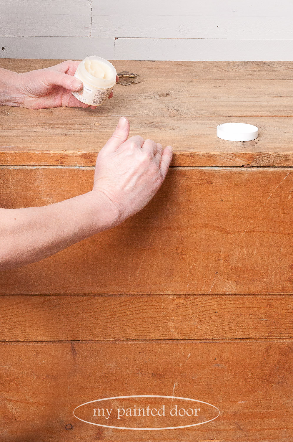 Homestead House Salad Bowl Finish is the perfect wax to use as a paint resist when distressing your paint.