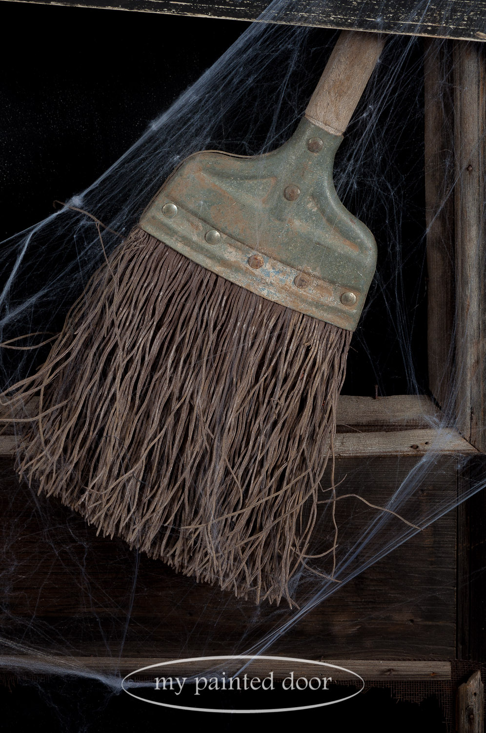 Everyone loves an old broom! This is part of my Halloween display in the shop.