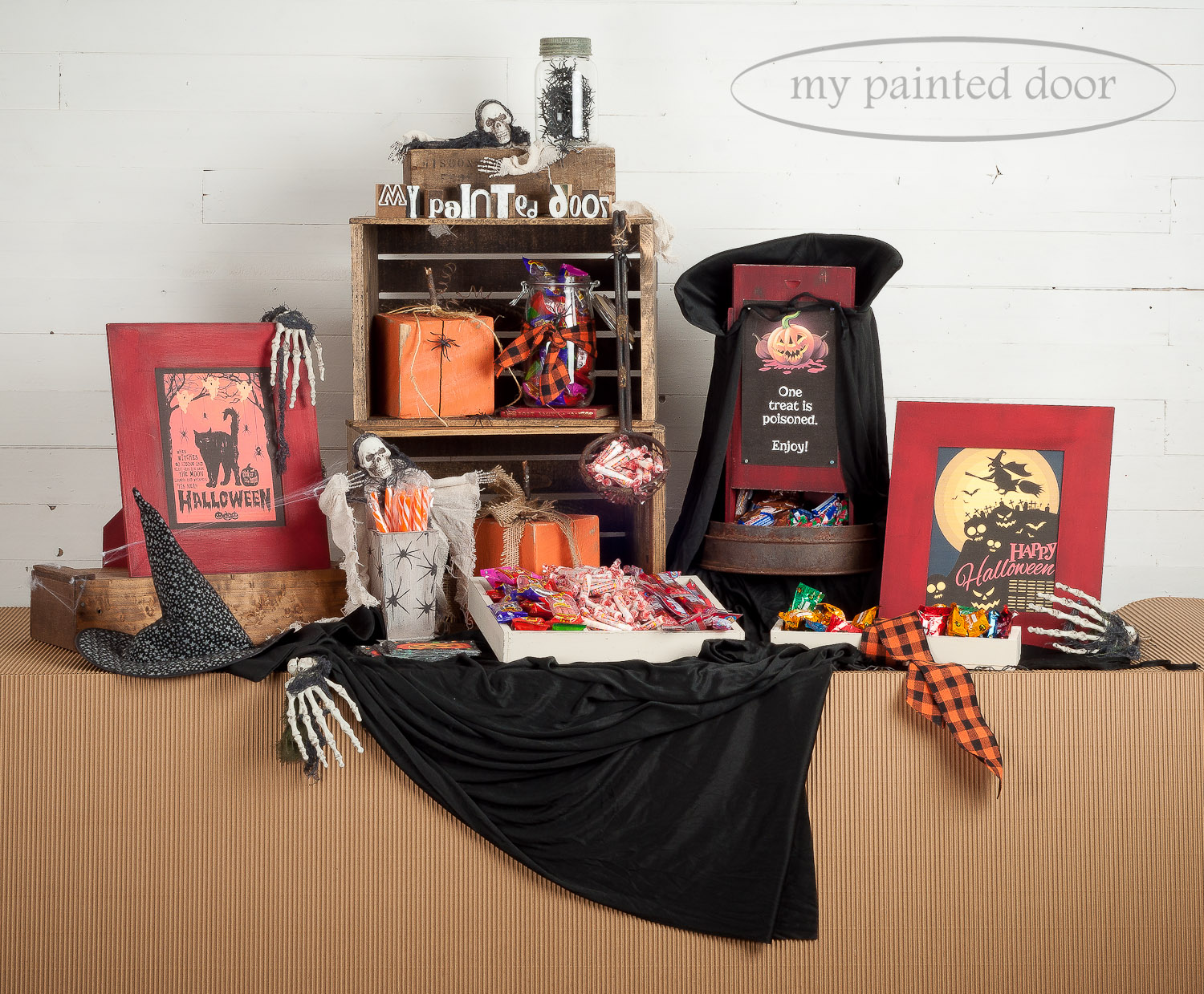 Halloween candy bar ideas - wood frames and boxes are painted with Miss Mustard Seed's Milk Paint in Curio and Tricycle. Pumpkins are painted with Fusion Mineral Paint in Tuscan Orange. Crates and boxes are antiqued using Homestead House Espresso Furniture Wax and Miss Mustard Seed's Antiquing Wax.
