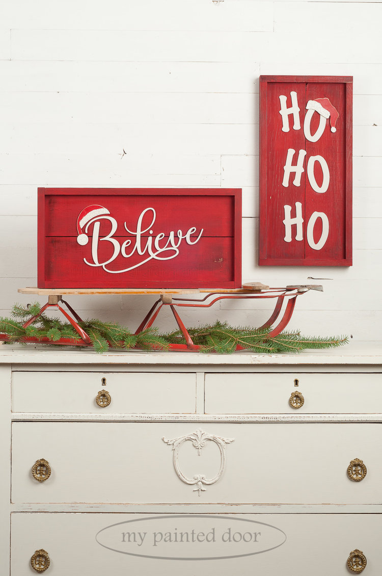 Farmhouse style Christmas signs painted in Miss Mustard Seed's Milk Paint in the colours Curio and Tricycle.