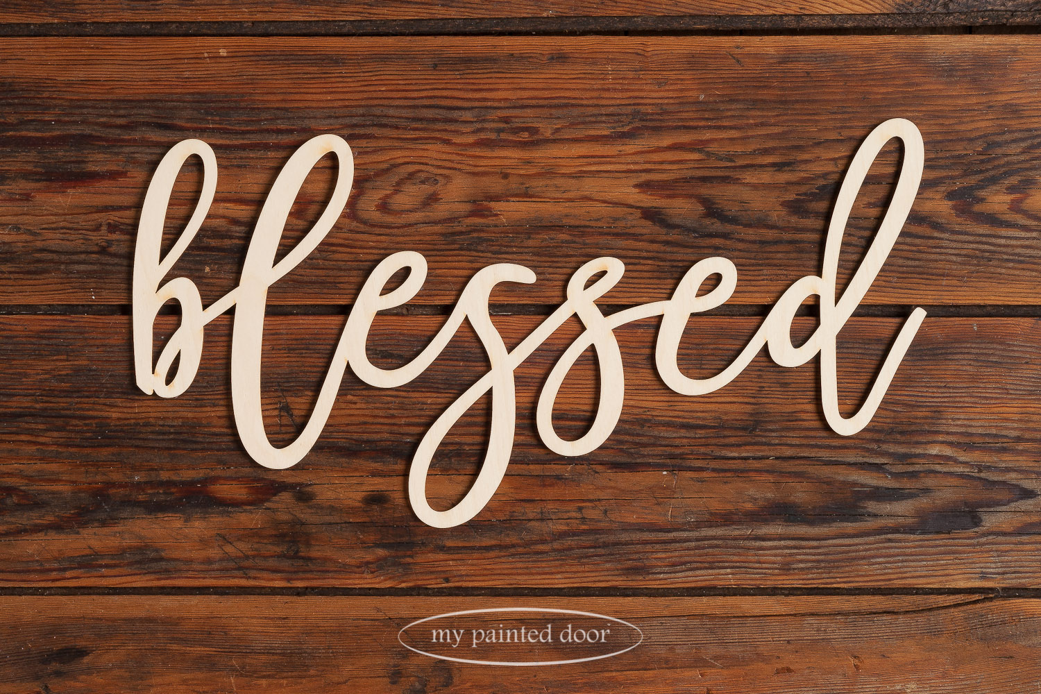 Laser cut word - blessed - available online at My Painted Door