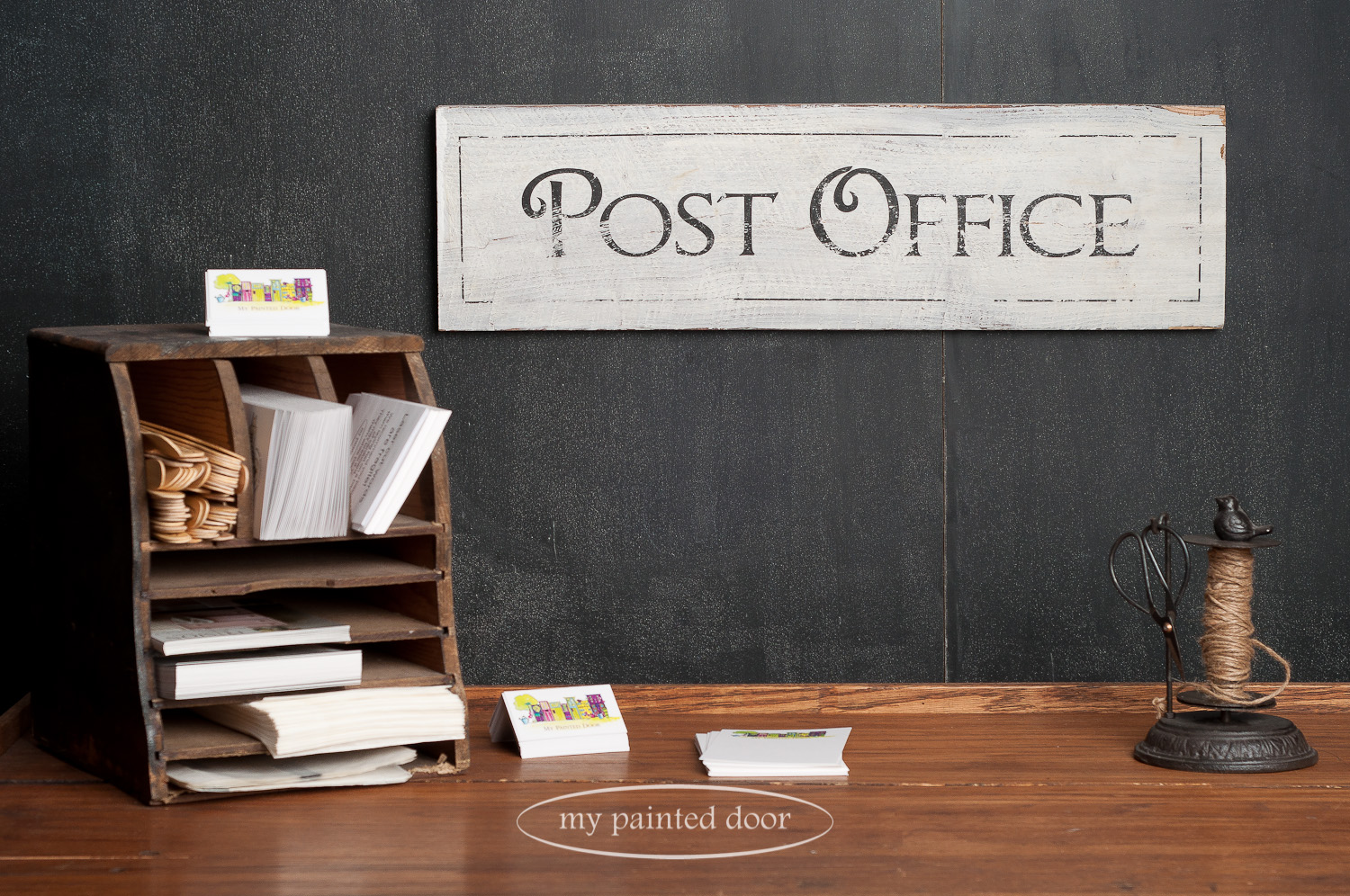 Post office signed painted with Miss Mustard Seed's Milk Paint and wording done with Fusion Mineral Paint Decoupage and Transfer Gel.