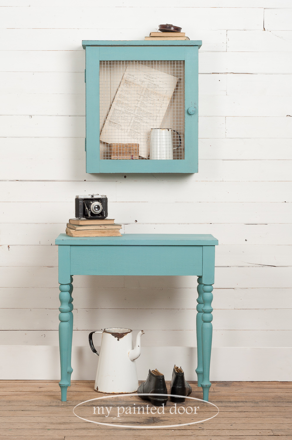 Learn how to paint furniture - Curiosity cabinet and accent table painted with Homestead House Milk Paint in the colours Niagara Green and Champlain.