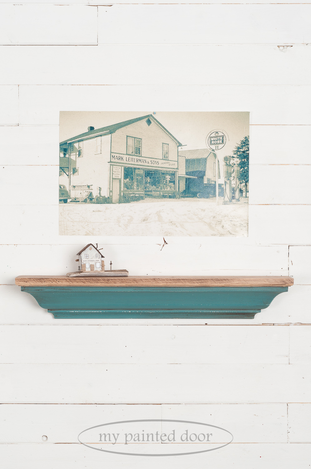 Learn how to paint furniture - Decorative shelf painted with Miss Mustard Seed's Milk Paint in the colour Kitchen Scale and top coated with Fusion Mineral Paint Espresso Furniture Wax.