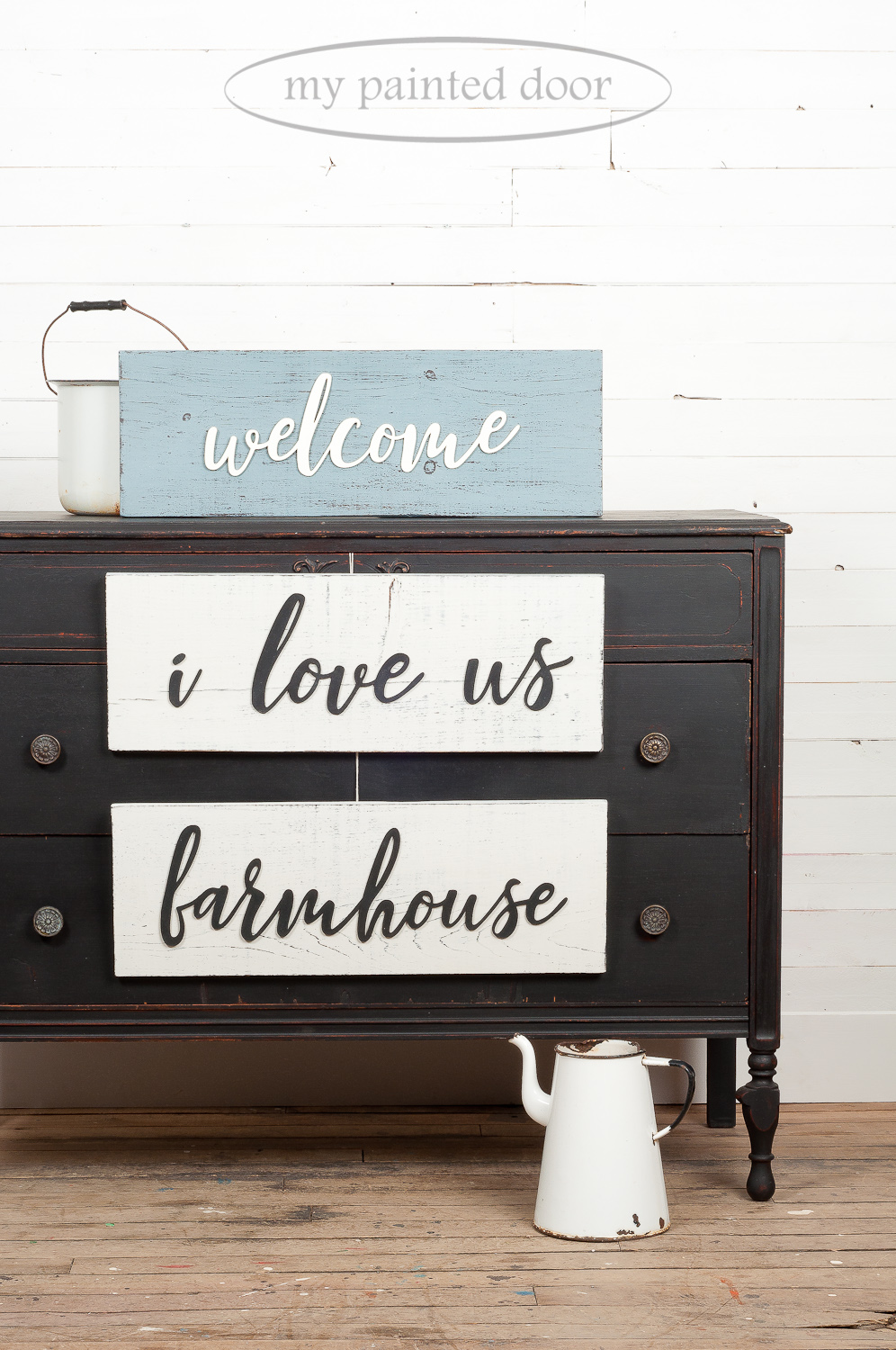 Signs painted using Miss Mustard Seed's Milk Paint in the colours Curio, Bergere and Farmhouse White. Dresser painted in Typewriter.