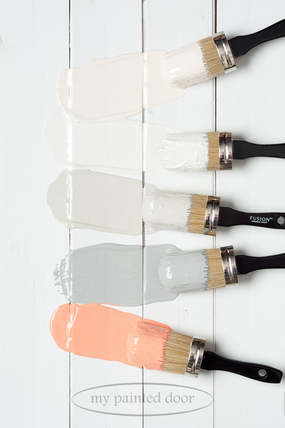 Fusion Mineral Paint Little Piggy,Raw Silk,Putty,Little Lamb and Coral.