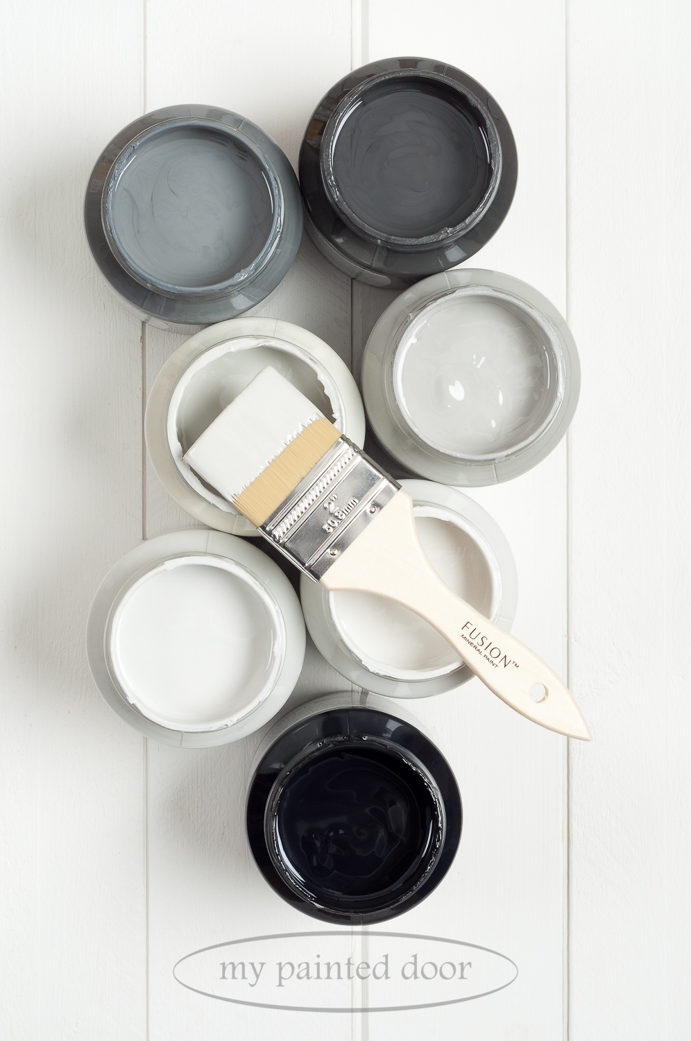 Fusion Mineral Paint Soapstone, Ash, Sterling, Little Lamb, Lamp White, Pebble and Coal Black