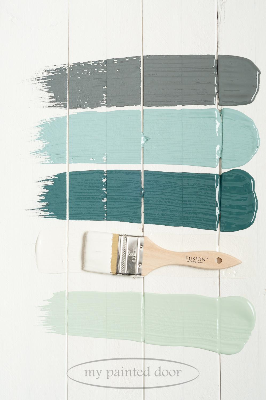 Fusion Mineral Paint Soapstone,Heirloom,Homestead Blue,Raw Silk and Inglenook.