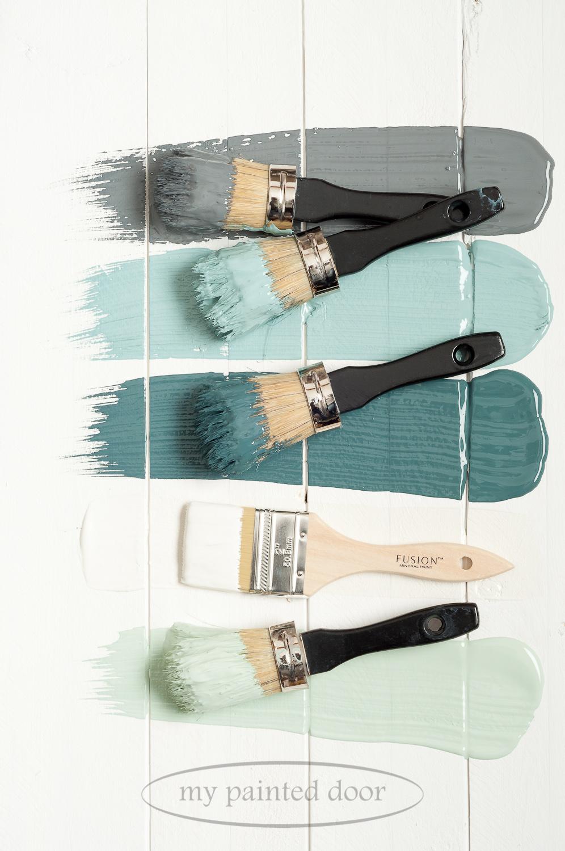 Fusion Mineral Paint Soapstone, Heirloom, Homestead Blue, Raw Silk and Inglenook.