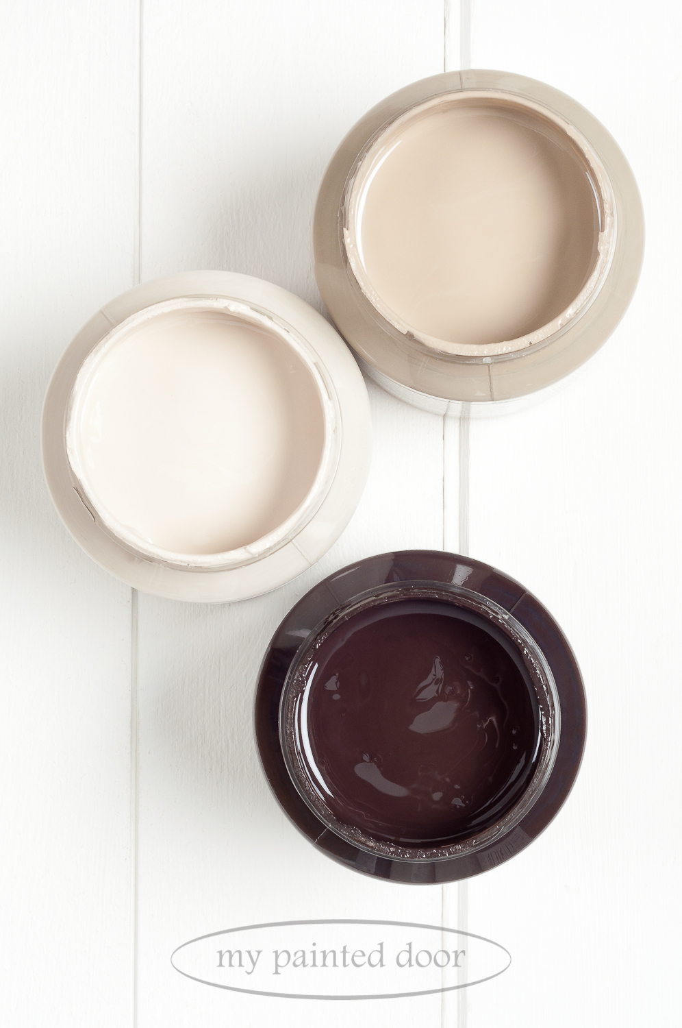 Fusion Mineral Paint Algonquin,Cathedral Taupe and Chocolate.