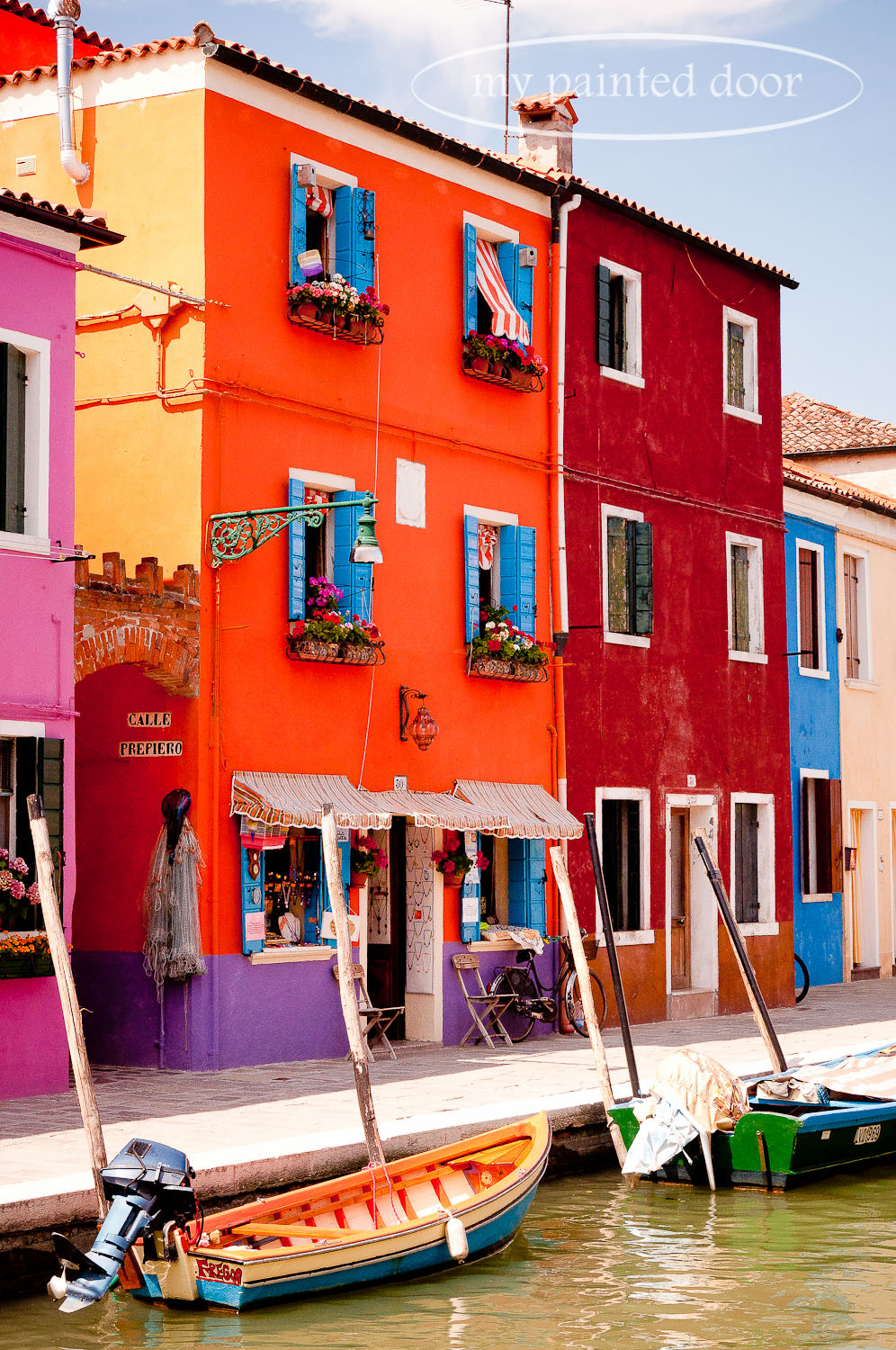 Colourful houses in Burano, Italy.