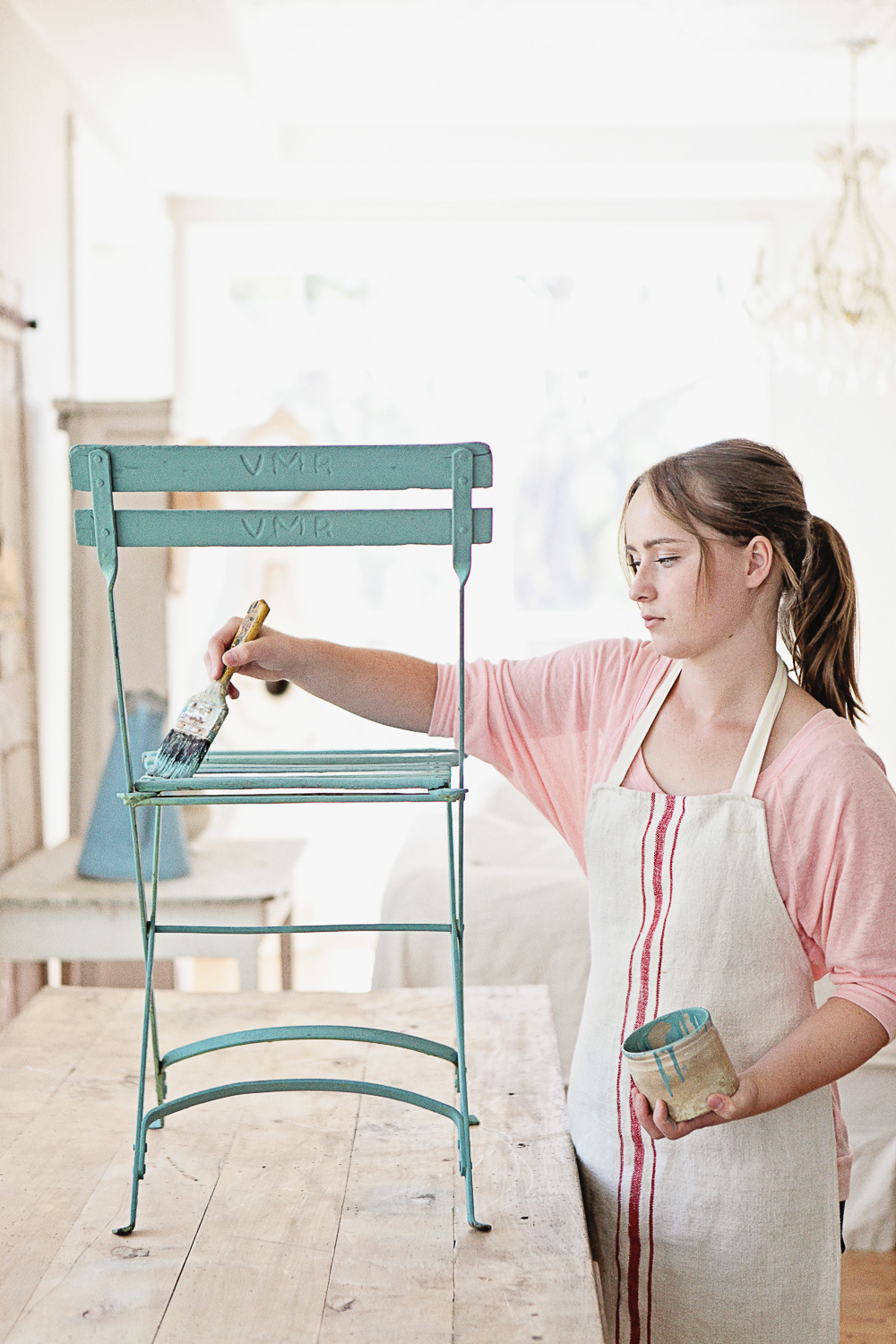 Chair Painted in Miss Mustard Seed's Milk Paint in the Colour Kitchen Scale