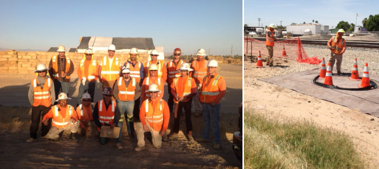 Left: The HP crew making it all happen! Right: Laying out figure-8 fiber.