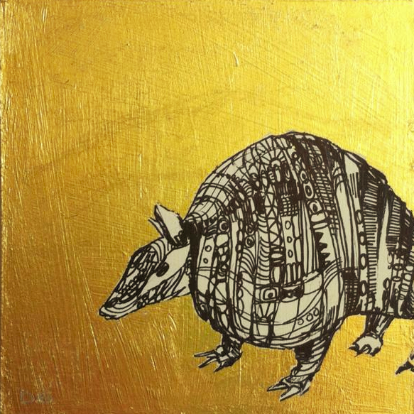 I submitted this tiny armadillo with a gold leaf background. Title: Gilded Armor, Size:4x4 inch