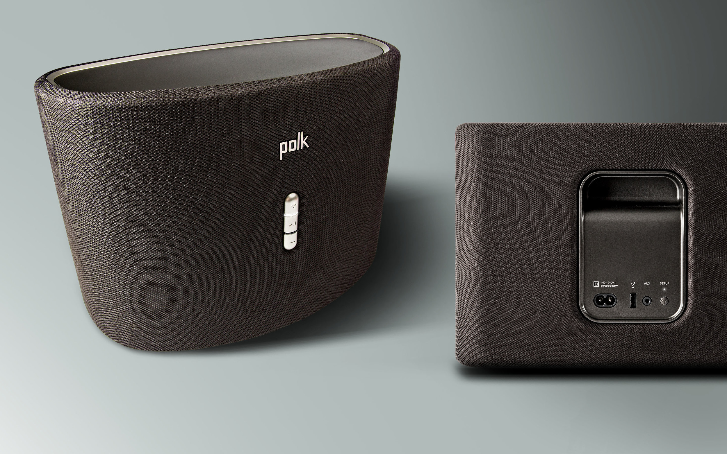 The Polk Omni S6 uses simple color association to communicate source behavior (white for wi-fi, amber for aux). It shares a minimal and approachable user interface, warm material palette, and completes the ecclectic Omni family