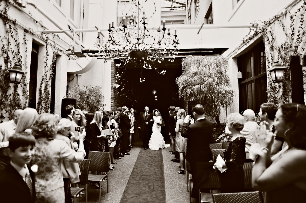 A ceremony in the Brix courtyard.