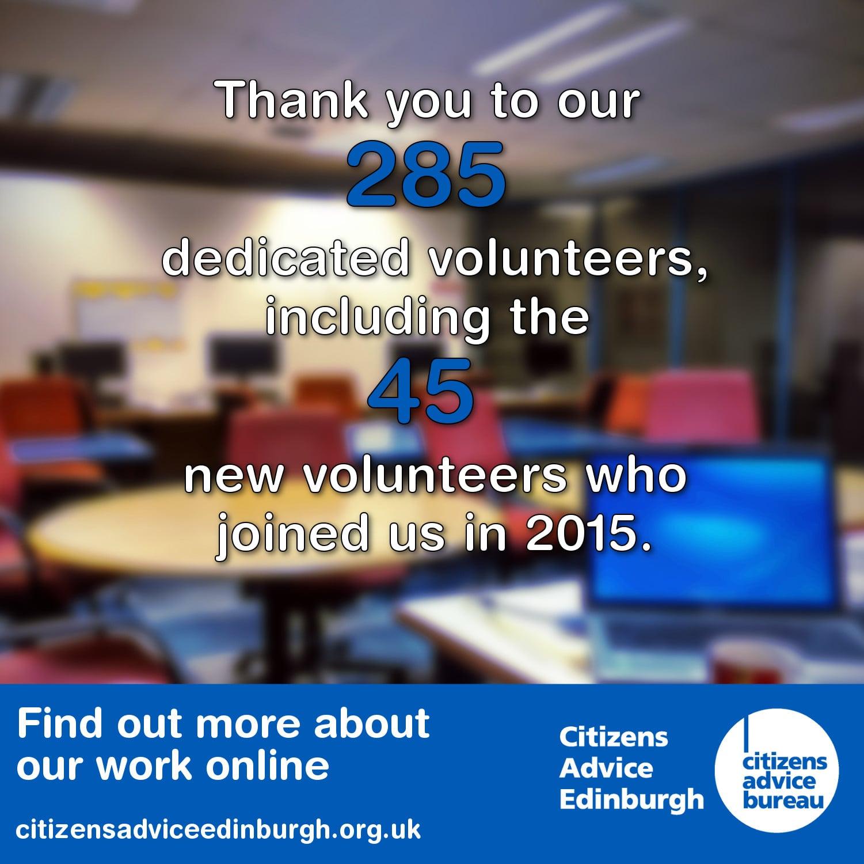 Citizens Advice Edinburgh - 2015 Volunteers