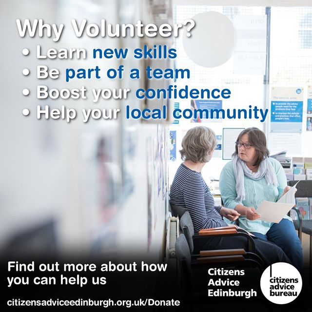 Our next #volunteer #adviser #training course starts in October  https://www.citizensadviceedinburgh.org.uk/the-adviser-role