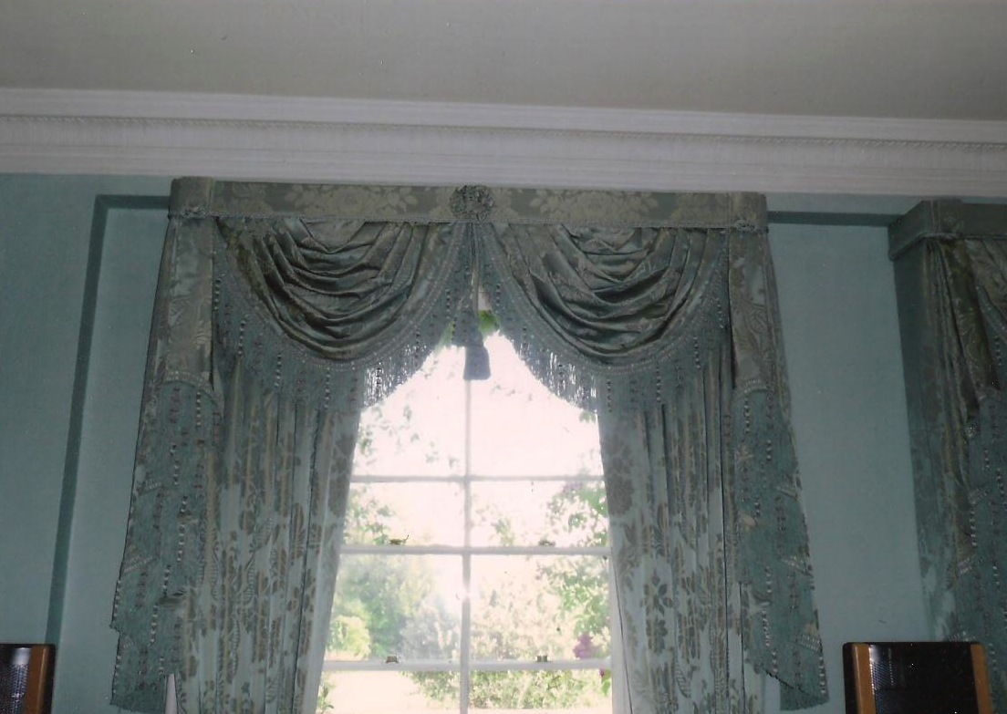 Oxfordshire Country House- Curtains with swags and tails with pelmet.
