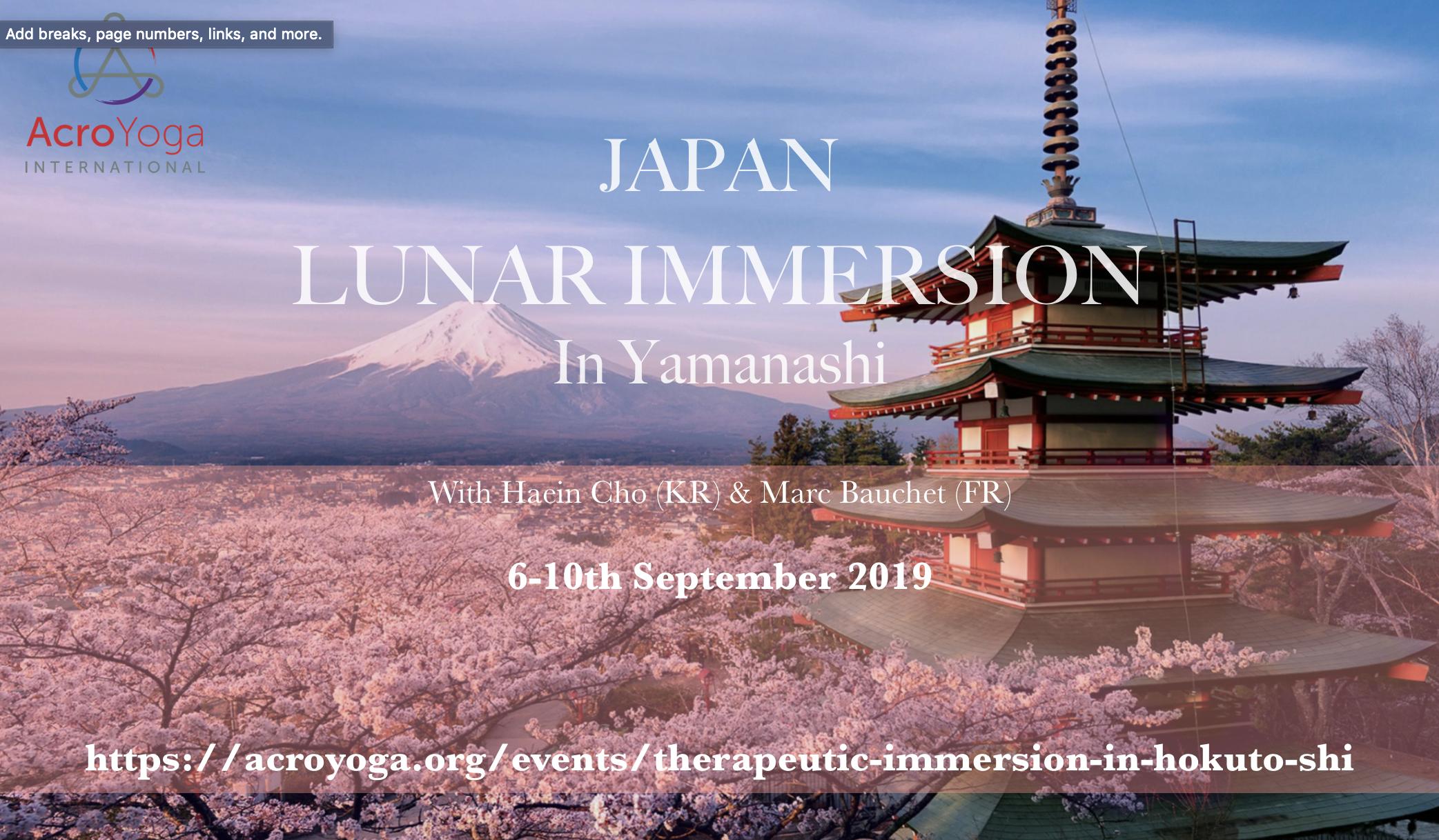 Japan Acroyoga Lunar Immersion 6-10th Sep
